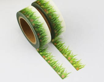 Pretty masking tape garden - Washi tape grass roll