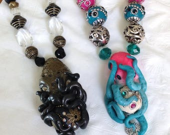 Custom Steampunk Octopus Necklace or Neon-politan Hot Pink and Teal Embrace Necklace. Lovecraftian.