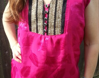 Women's Handmade Sari Silk Decorative Chest Short Sleeve Lined Blouse Summer Shirt - Hot Pink and Black - Avery H812