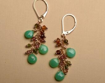 Green Chrysoprase Earrings, May Birthstone, Long Dangle Gemstone Earrings, Green Tourmaline Earrings, Healing Gemstone Jewelry
