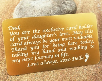 Metal Wallet Insert, Custom Wallet Insert, Personalized Wallet Card, Engraved Wallet Insert: Gift for Him, Stocking Stuffer, Wedding Vows