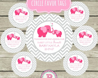 Personalized Elephant Baby Shower Circle Favor Tags Thank You for showering our Sweet Little Peanut Chevron Pink Gray Stickers Baby Girl