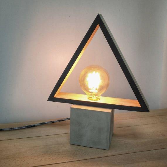 Modern concrete black wood table lamp modern lamp geometric te gusta este artculo aloadofball Choice Image