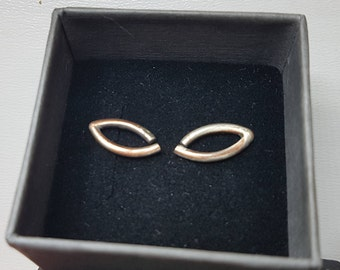 Mokume-Gane silver and copper earrings almond-leaf shape earrings!