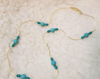"""22"""" Gold Crimpable chain complimented with 8mm Genuine Turquoise Beads"""