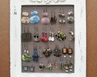 Jewelry Organizer Wood Wall Hanging Display Holder Necklace Earring Storage Jewlery Organization Frame Cream Shabby Chic
