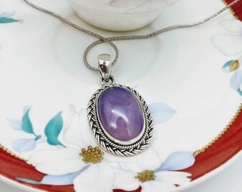 925 sterling silver pendant with purple chalcedony-purple chalcedony accesories, purple chalcedony gemstone