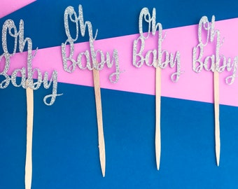 OH BABY Cupcake Toppers, Baby Shower Glitter Toppers, It's a girl cupcakes, It's a boy, Gender Reveal, Glitter Cupcake toppers, Oh Boy,Decor
