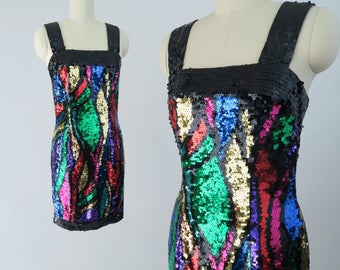 OLEG CASSINI 1990s Sequined Body Con Dress / Vintage Holiday Party Dress