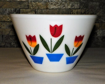 """Fire King Tulip Mixing Bowl, 9 1/2"""" Wide by 6"""" High, 3 Qt. Holland Tulip Largest Bowl, Oven Ware Bowl, from Oven to Table"""