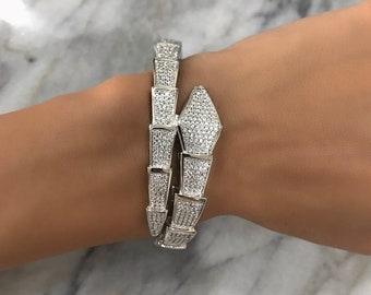 SNAKE BANGLE, statement bangle, luxury bangle, snake cuff, shiny bangle, diamond bangle, glam bangle, adjustable bangle, snake bracelet