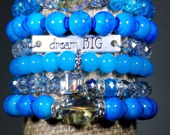 Blue Bead Stack Bracelets