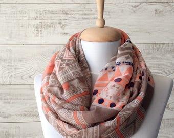 Spring scarf summer scarf orange scarf infinity scarf spring fashion accessories summer scarf