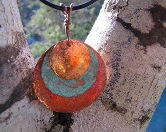 Fire and Ice Copper Jewelry Copper Pendant Torch Fired Patina Blue Copper Medallion