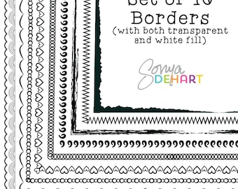 80% OFF SALE Clipart Doodle Borders and Frames Clip Art Hand Drawn Page Borders CA165