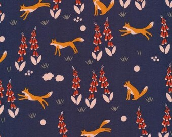 Fox in the Foxgloves Navy - Foxglove - Aneela Hoey - Cloud 9 Fabrics 100% Organic Cotton