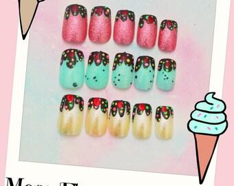 Ice Cream Fake Nails, Summer Nails, Ice Cream Press On Nails, Three Flavor Ice Cream, Cute, Sundae, Japanese Nail Art, Nail Art, Acrylic
