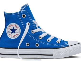 Kids Blue Converse Childrens High Top Youth w/ Swarovski Crystal Rhinstone Gem Soar Canvas Chuck Taylor Bling All Star Custom Sneakers Shoes