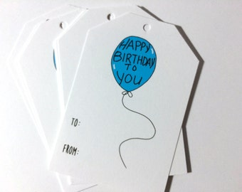 Birthday Gift Tags, Balloon Gift Wrap, Hanging Tags, To From, made on recycled paper