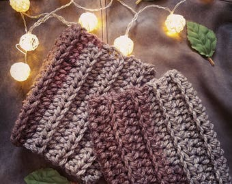 Copper and Silver Chunky Boot Cuffs, Crochet Boot Cuffs