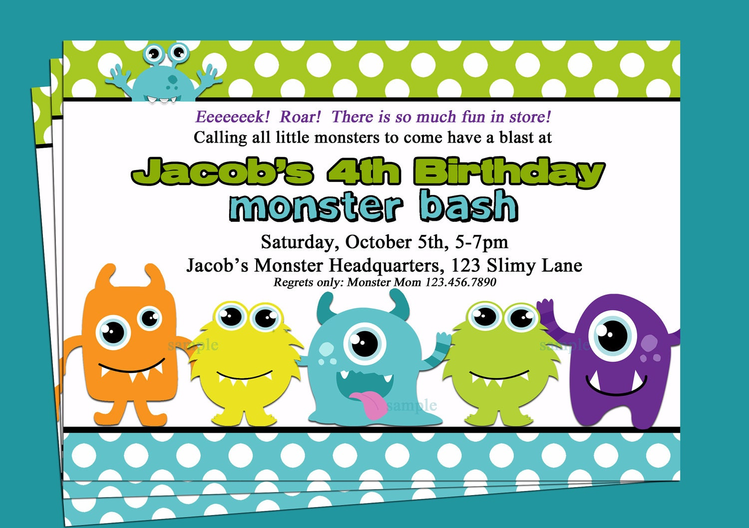 Monster Invitation Printable Or Printed With Free Shipping