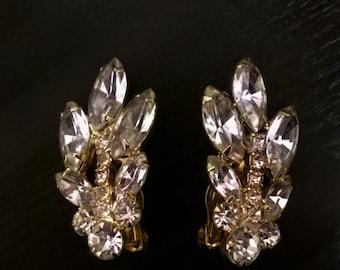Brilliant 1950s Clip on Rhinestone Earrings