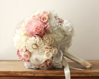 wedding Bouquet, blush bridal bouquet, peach bouquet, flower bouquet, vintage wedding bouquet