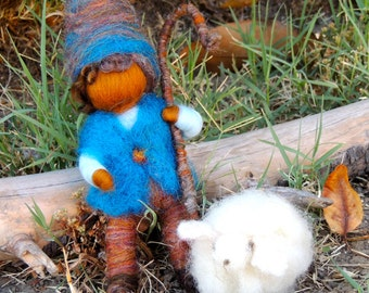 Shepherd boy with sheep Waldorf Inspired Needle Felted  - bendy gnome Waldorf Inspired by Rebecca Varon