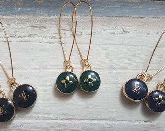 Designer Inspired Gold 3 Different Colour Pastilles LV Drop Earrings