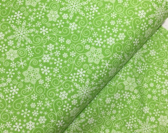 Green Mulberry Lane Snowflakes by Cherry Guidry for Contempo Studios, Christmas Fabric, Snowflake, Winter, Green Winter Fabric