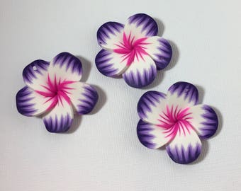 Tropical Polymer Clay Flowers in Purple /Pink 3 ct.