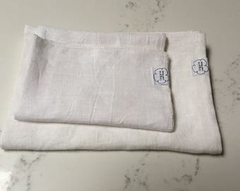 Linen hand/face towel and wash cloth set, Hand/face linen towel & wash cloth, Spa/sauna linen towels, Pure white