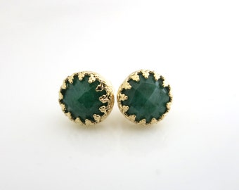 Emerald Earrings, Green Earrings, May Birthstone Earrings, Emerald Stud, Green Post earring, Gold and Green, Emerald Jewellery, Gift for Her