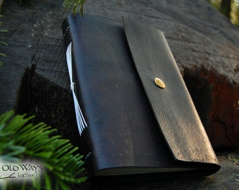Dark brown leather journal with brass snap