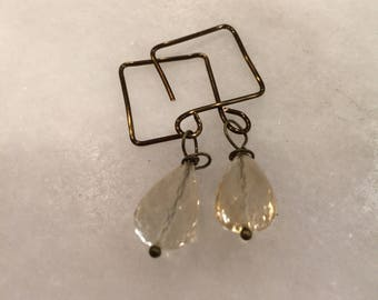 Citrine Teardrops and Vintaj  Antiqued Brass Square Hoops  Boho Jewelry  Handmade  Ear Wires  Gemstone Quality Citrine   Light Gold earrings