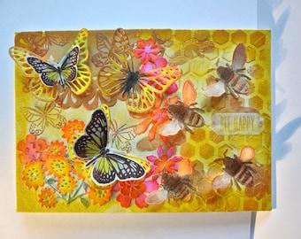 Mixed Media Art Canvas - Bee Happy