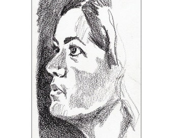 Chinagraph Study, original portrait drawing of woman