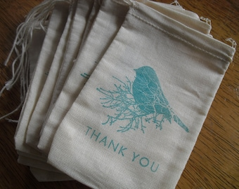 Favor Bag - SET OF 10 3x5 Bird on Branch Thank You Muslin Favor Bags Gift Bags or Candy Bags - Item 1087