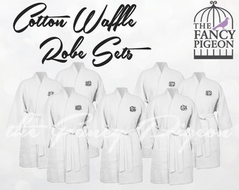 WHITE COTTON ROBES - Spa Party Robes - Spa Robes - Wedding Day Robes - Dressing Gowns - Getting Ready Robes - Monogrammed Robes - Bride Robe