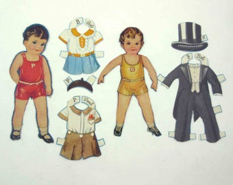 Vintage Paper Dolls Cute Little Boy Named Bob and Little Boy Named Paul and 5 Outfits