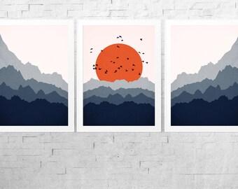 Abstract Landscape Print Set - Panorama Print - Blue Orange Art - Scandinavian Wall Art - Scandinavian Print - Mid Century Modern