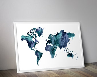 World map print etsy world map print watercolor world map map wall art gumiabroncs Image collections