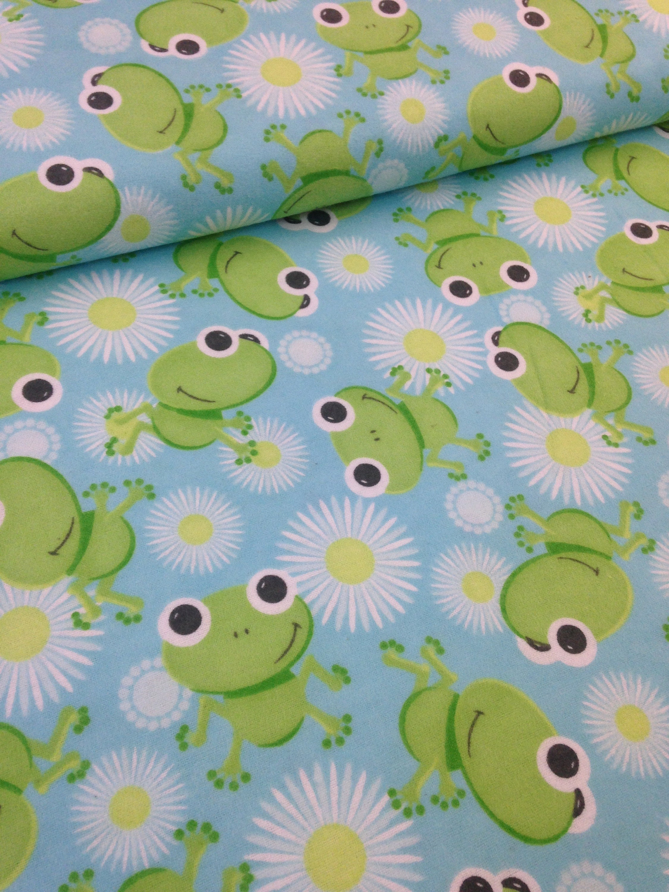 Frog, toad lily pad, aqua and blue baby flannel, baby frog fabric ...