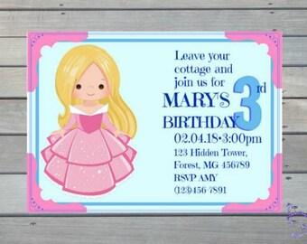 Princess Sleeping Beauty Aurora Cute Personalized Downloadable Print Yourself Birthday Invitation