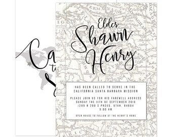 Missionary Farewell/Homecoming Map Invitation