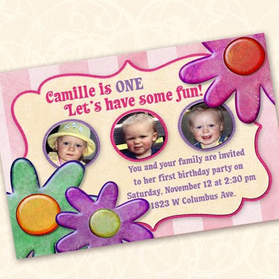 birthday party, birthday party invitations, 1st birthday invitation, flowers and stripes party, pinkalicious party, girly birthday