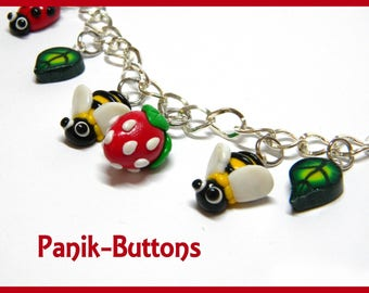 Bees and strawberry bracelet