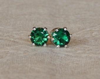 Emerald 4mm Studs, Emerald Studs, Emerald Stud Earrings, Emerald Posts, Emerald Post Earrings, May Birthstone, Lab Created Emerald, Emerald