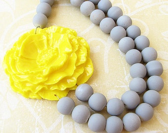 Statement Necklace Flower Necklace Yellow Necklace Beaded Necklace Layered Necklace