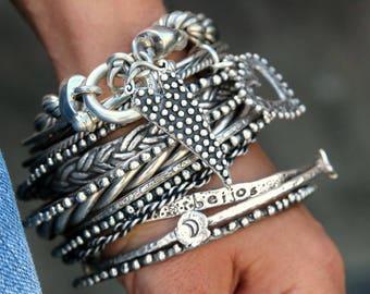 Boho Stacking Bracelet, Chunky Boho Jewelry, Bohemian Bracelet, Modern Hippie Chunky Bracelet, Boho Chic Silver Bracelet, Chain Bracelet